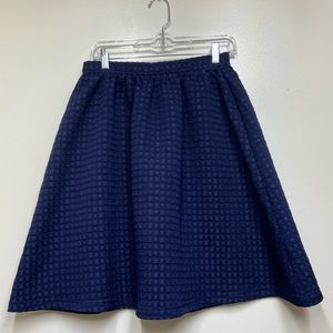 Top shop Navy Blue Square Textured Flared Skirt, 6